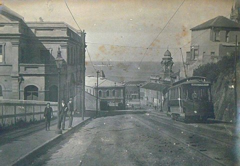 White's Road in 1898 with a tram trundling past the Opera House
