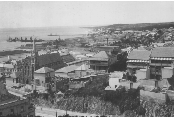 White's Road in 1904 barely visible from the Donkin Reserve