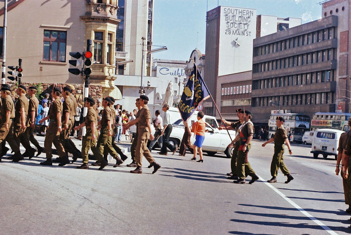 White's Road in 1976-Back from the border and about to march up White's Road. I pity the band members.