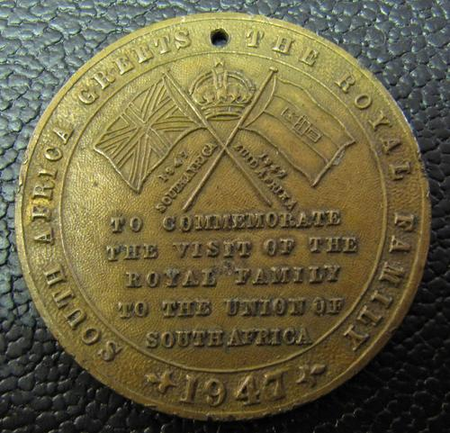 1947 Royal Visit to South Africa commemorative medallion