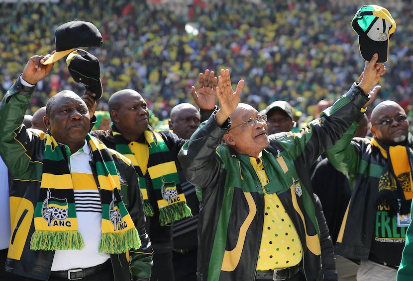 African National Congress (ANC) president, Jacob Zuma (2nd R) waves to his supporters at a pre=election rally. REUTERS Siphiwe Sibeko