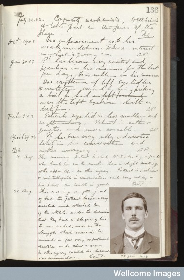 Case notes of George Howard Mapplebeck Credit: Wellcome Library, London. Wellcome Images images@wellcome.ac.uk http://wellcomeimages.org p.136 George Howard Mapplebeck, 1903 case notes and photograph 1903 Holloway Sanatorium Hospital for the Insane, Virginia Water, Surrey Case Book No. 11 Certified Male patients admissted March 1901 - June 1902: p.136