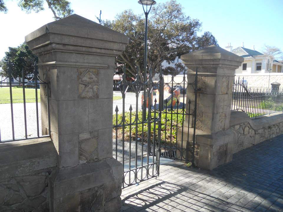 One of the four gated entrances to the square