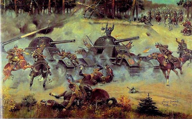 Polish cavalry charge German tanks