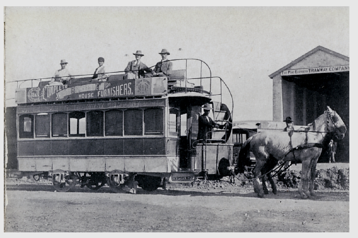 Port Elizabeth tram, one horsepower, in the 1880s. Not suitable for Whites Road