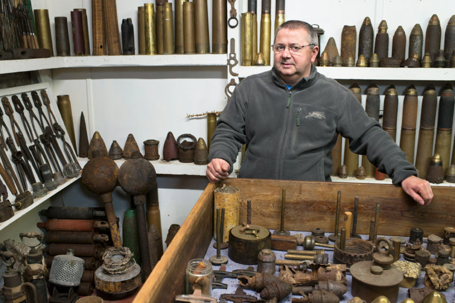 Daniel Cuvillier, collector , in his private museum in Bray-sur-Somme in the Somme