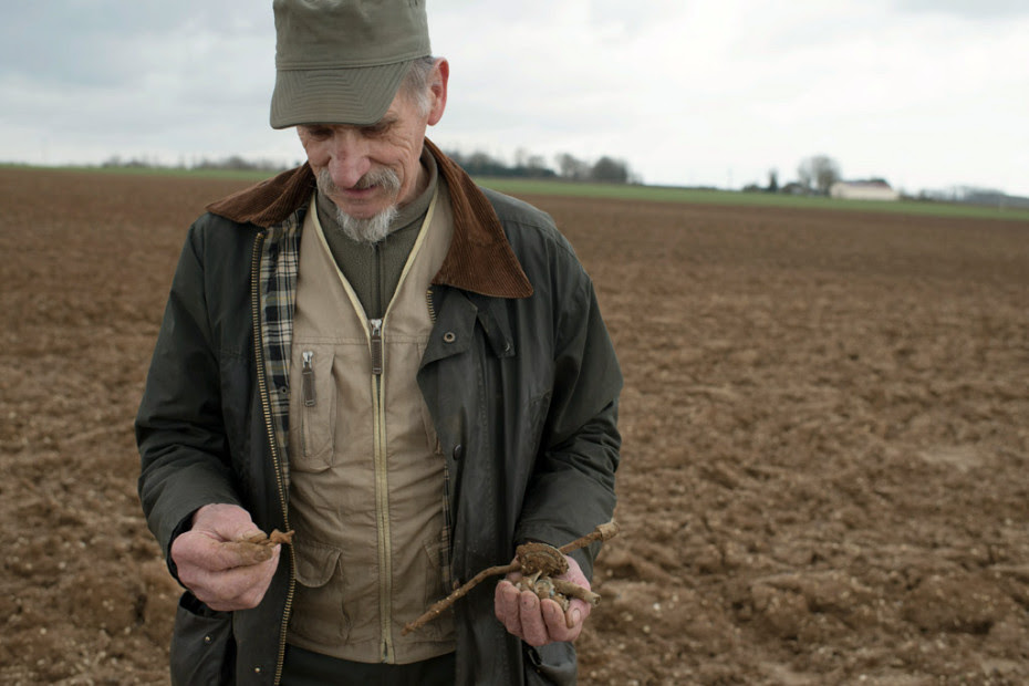 Gilbert Gueant, retired and collector, with in the hands of shrapnel balls of lead , bullets and other war waste it just picked up in a field on the red horse area between Picardy and the Nord-Pas de- Calais.