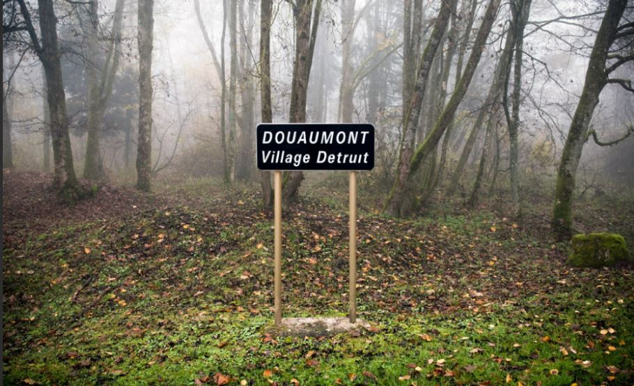 Sign reads 'Douaumont Destroyed Village'