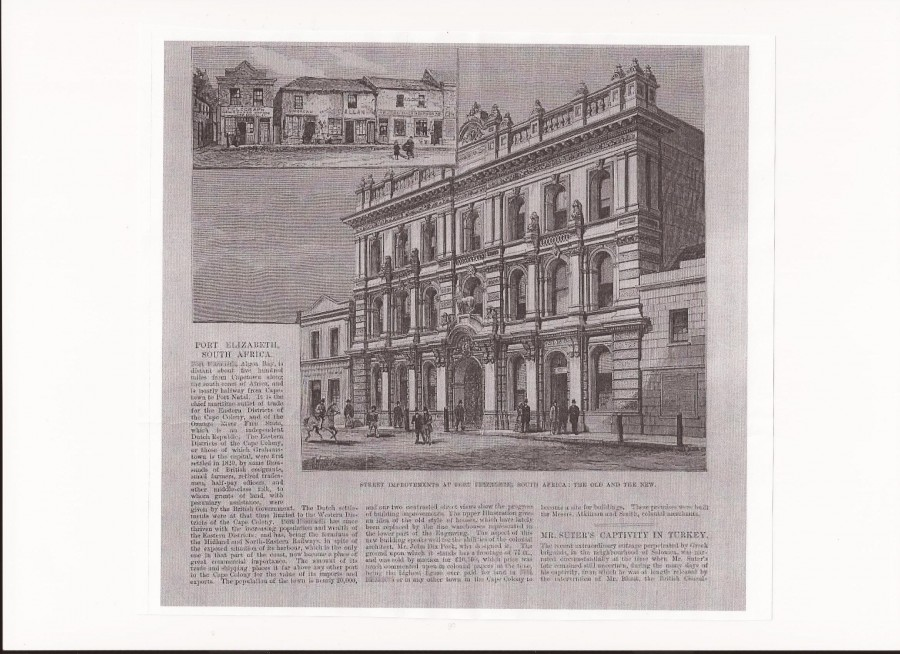 The Standard Bank Building, Port Elizabeth, Cape Colony designed in 1874 by George Dix Peek (Article in the Illustrated London News)