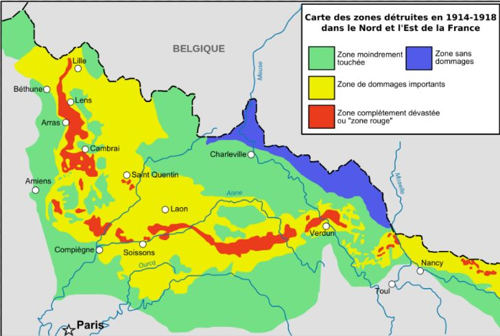 The map indicates the red zone and the less dangerous zones in yellow, green and blue.