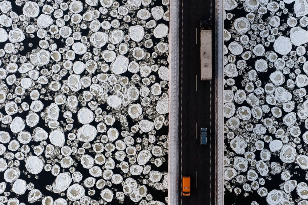 A bridge over a frozen river