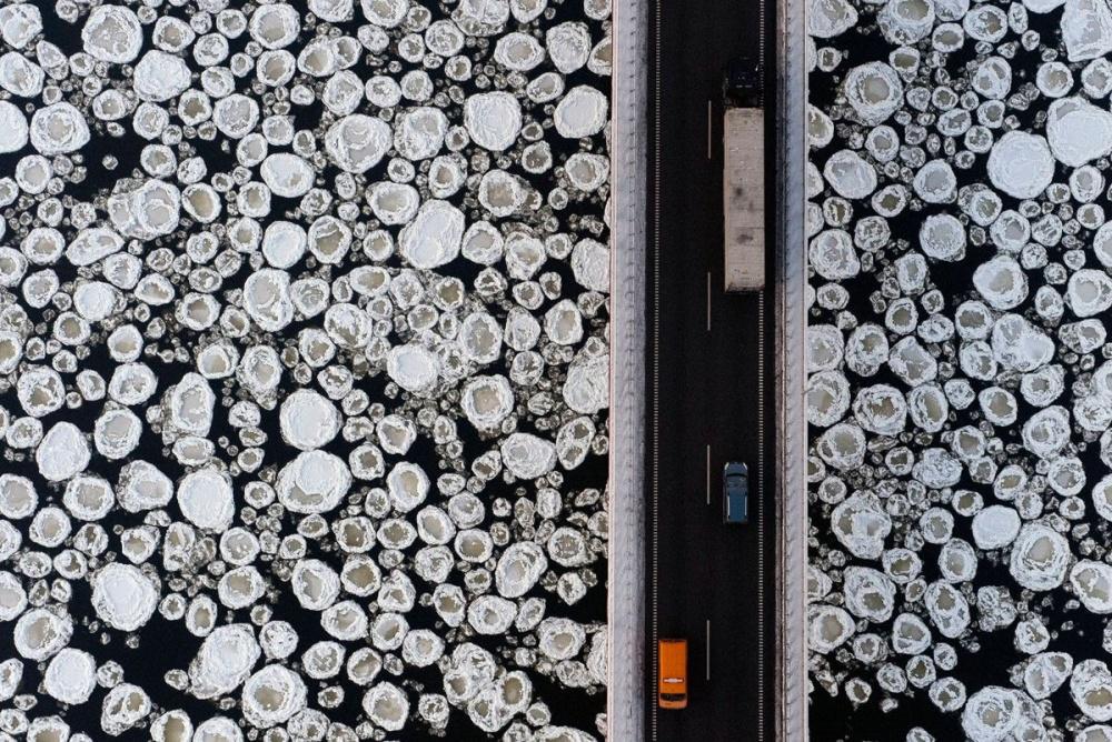 A bridge over a frozen river