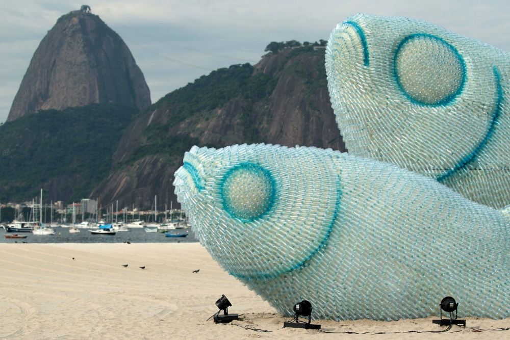 A sculpture made entirely from plastic bottles on one of the beaches of Rio de Janeiro