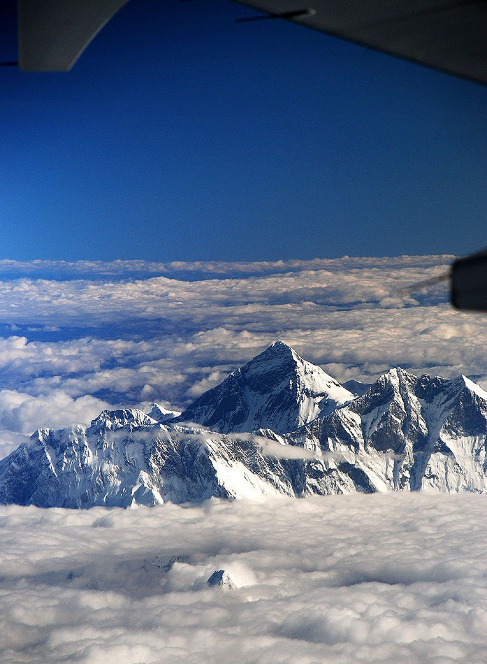 A view of Mount Everest from a plane