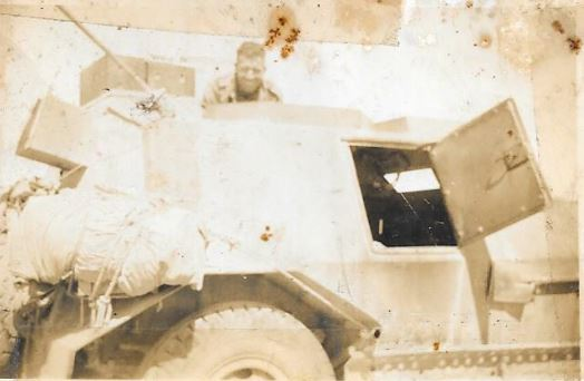 Mervyn Moore in turretless Marmon Herrington Armoured Car at El Alamein in 1942