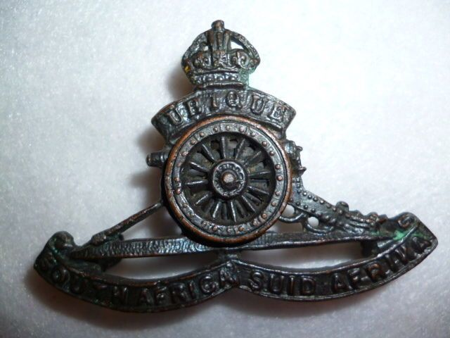 South African Artillery officers moving wheel cap badge during WW2
