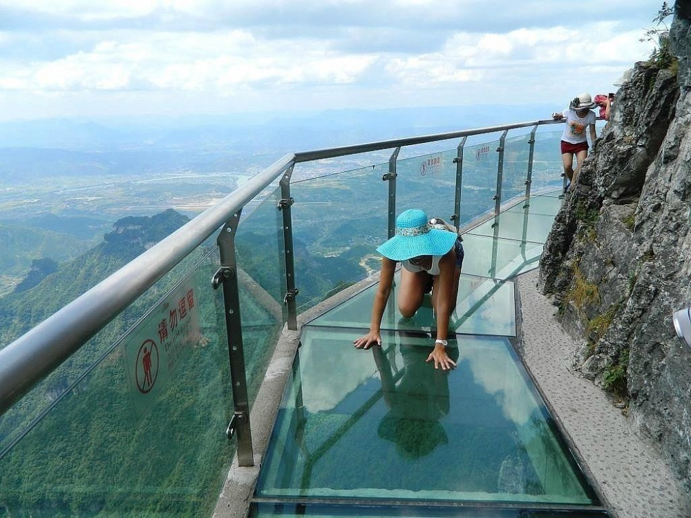 The glass trail of terror (height 1,430 metres), China