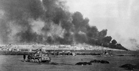 Tobruk burning