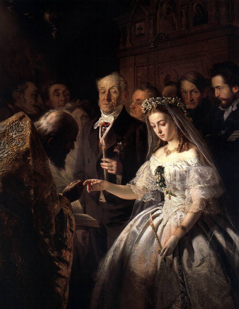Unequal marriage, a 19th-century painting by Russian artist Pukirev. It depicts an arranged marriage where a young girl is forced to marry someone against their will