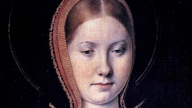 A rather plain mousy Catherine of Aragon