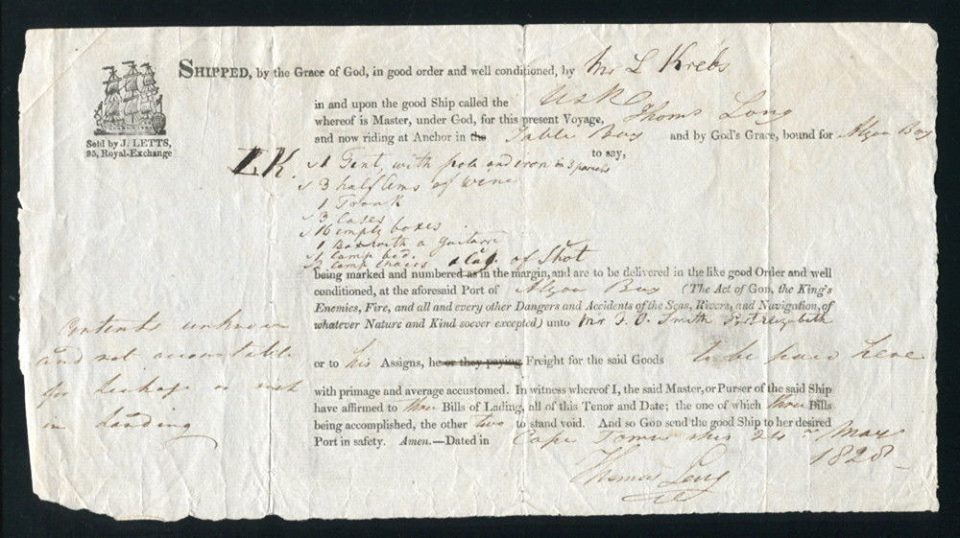 Bill of Lading-Goods from Table Bay to Port Elizabeth-date 1828-Table Bay 24 May 1828