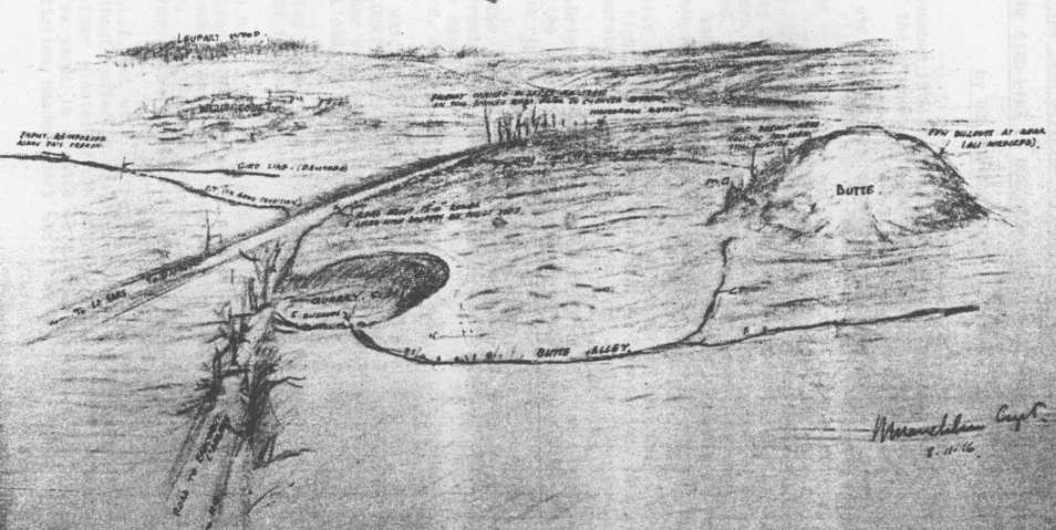 Drawing of Butte de Warlencourt