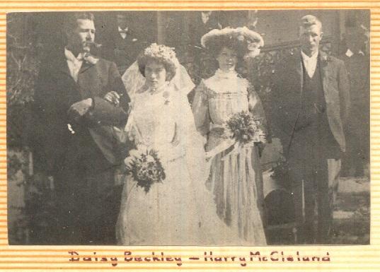 My grandfather, Harry William McCleland getting married to Elizabeth Daisy McCleland