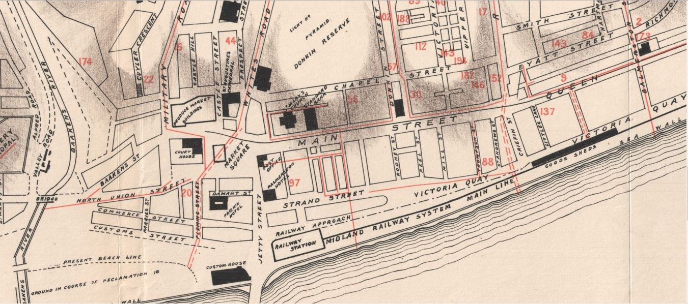 Map of the location of the original Phoenix Hotel