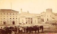 Market Square in 1870 taken by J.E. Bruton with the Commercial Hall situated where the modern Public Library is situated