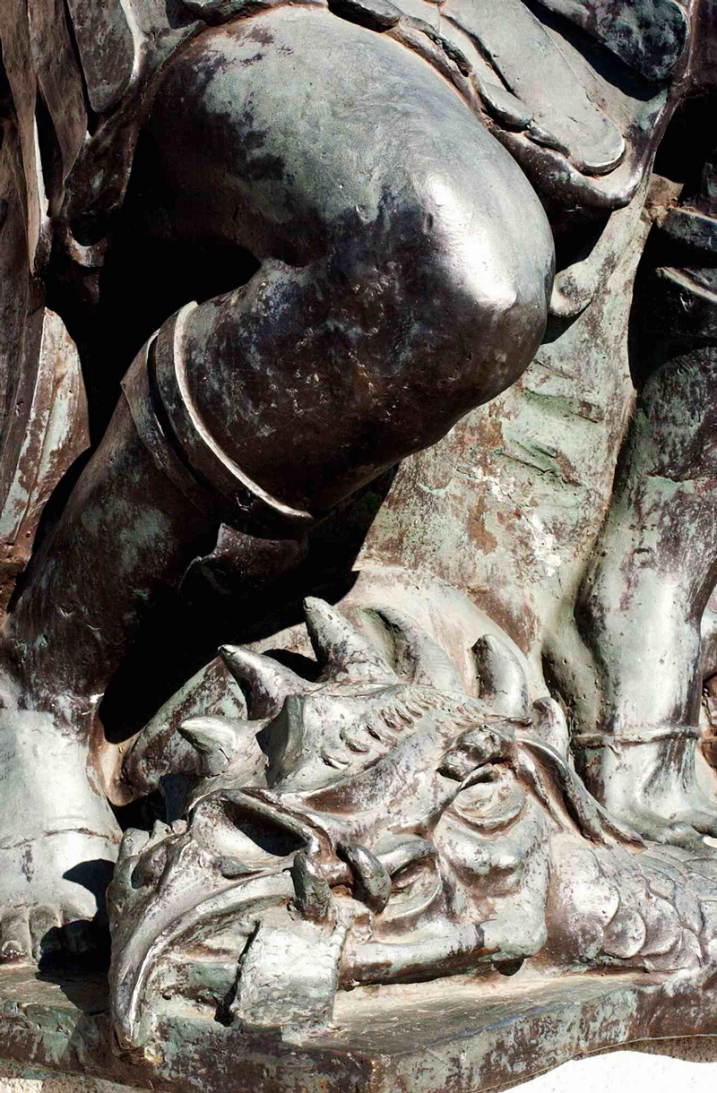 A close-up view of the dragon's head after it was killed by St George