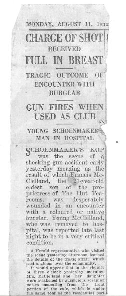 Article in EP Herald on 11 August 1930 regarding shooting of Francis Joseph Walker McCleland-Part#01