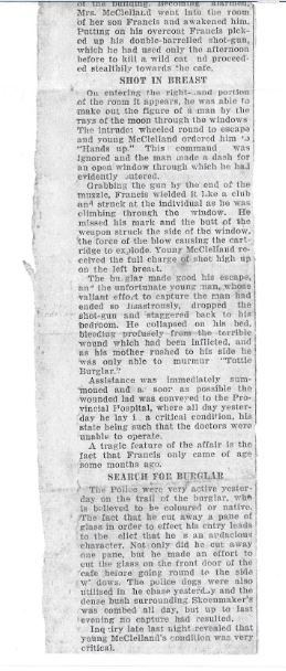 Article in EP Herald on 11 August 1930 regarding shooting of Francis Joseph Walker McCleland-Part#02