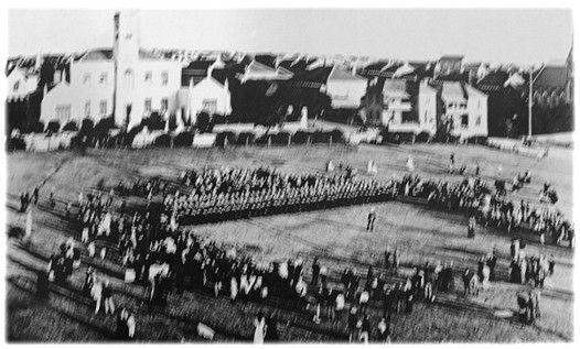 British Troops gather on the Donkin Reserve