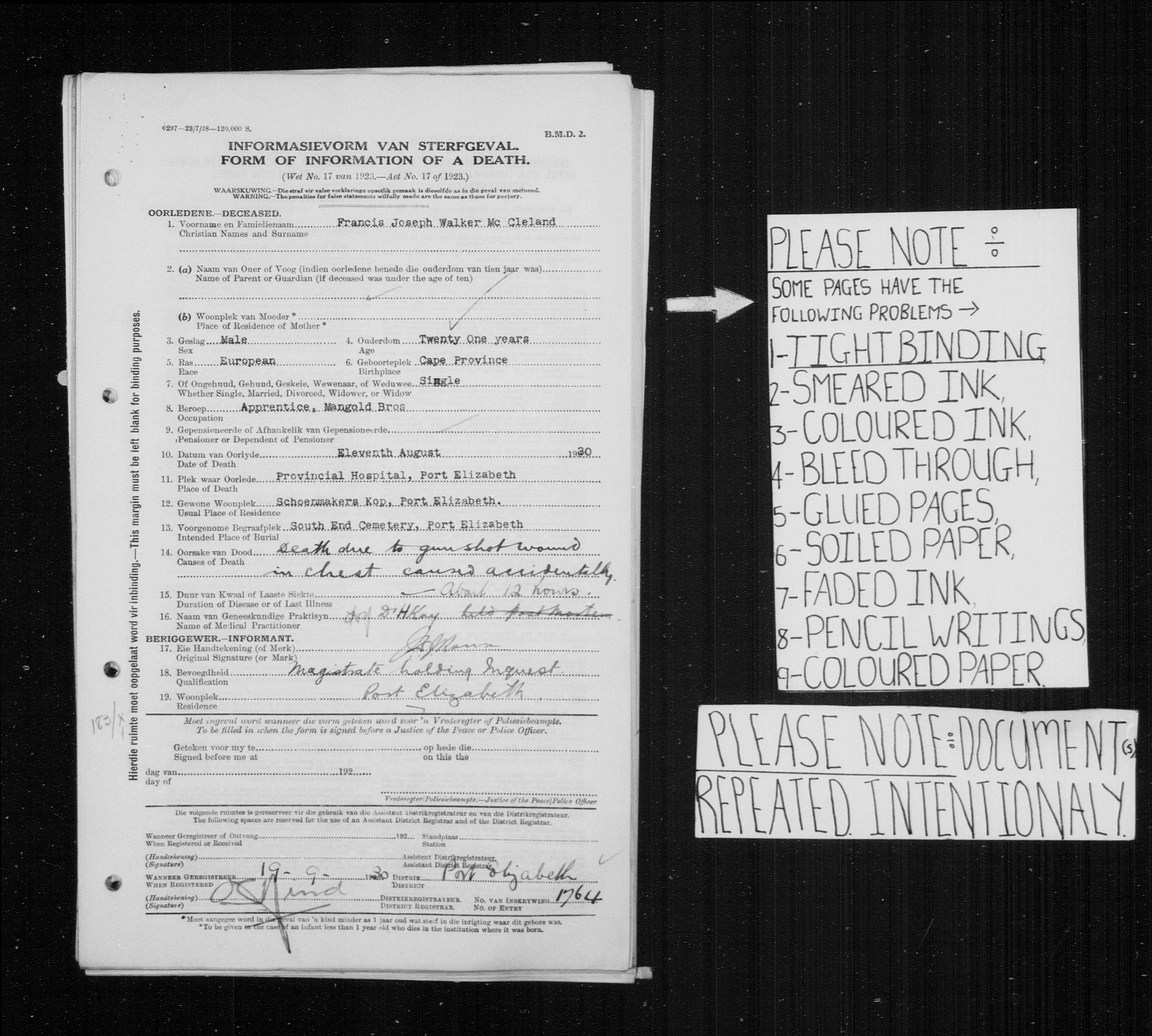 Death Certificate of Francis McCleland in 1930