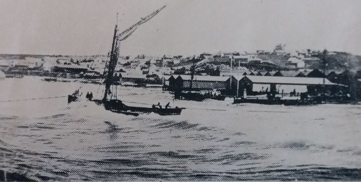 Landing through the surf in 1866