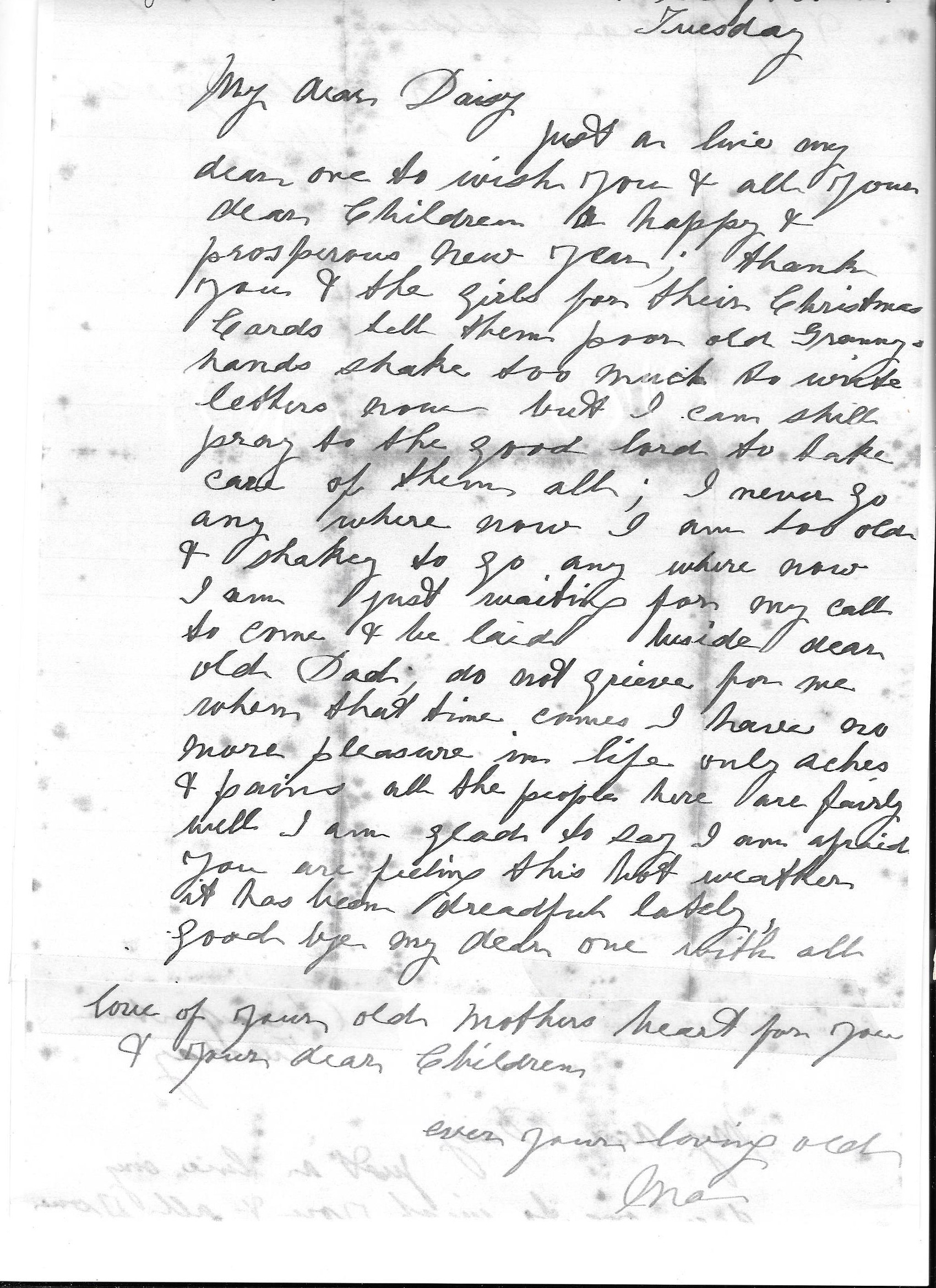 Letter by Mary Ann Beckley nee Waspe to her daughter Daisy McCleland