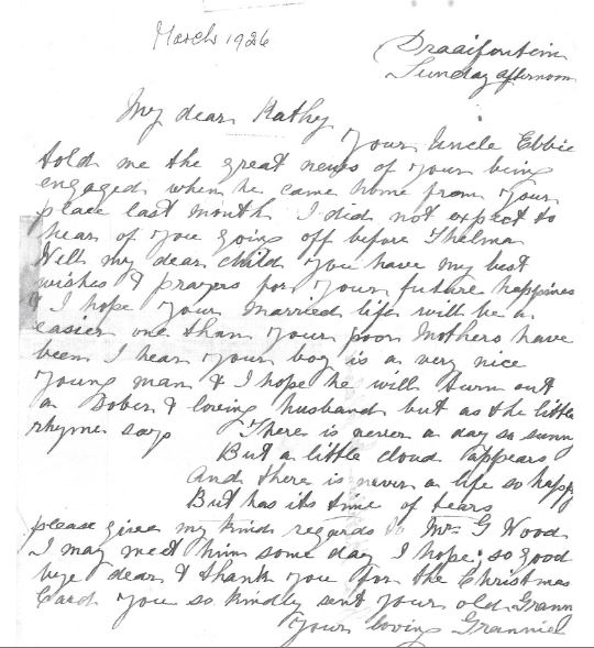 Letter by Mary Ann Beckley to Kathleen McCleland on her engagement