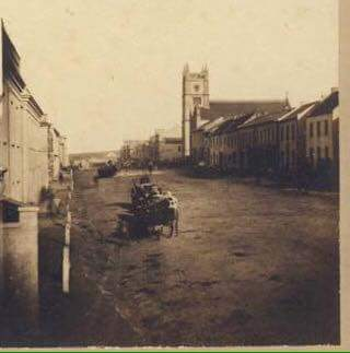 Main Street between 1853 & 1858 as there is no Town Hall & the new Church on the right was built in 1853