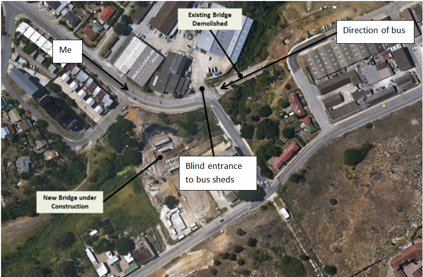 Map of Brickmakerskloof showing potential accident
