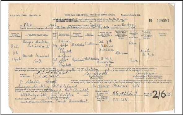 Marriage Certificate of Bryce and Auret McCleland