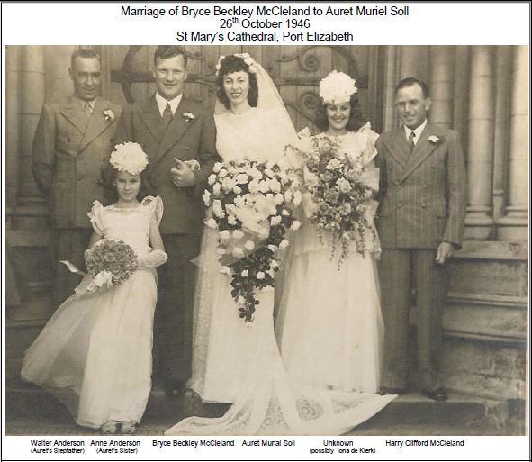 Marriage of Bryce and Auret McCleland on 26th October 1946