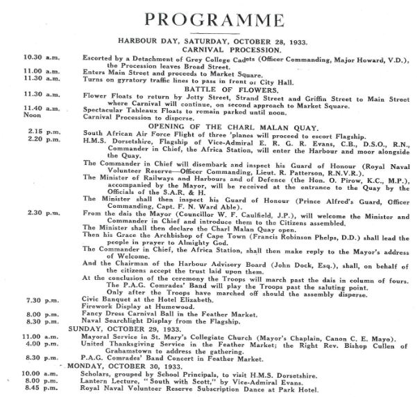 Program for the opening of the Charl Malan Quay