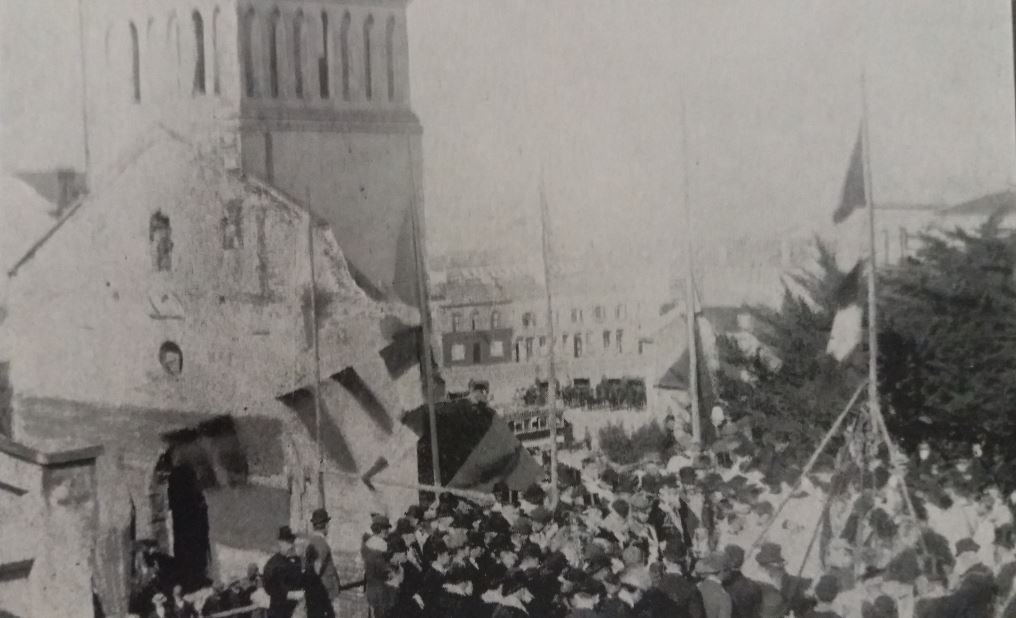 Laying the Memorial Stone of the new St Mary's Church in 1895