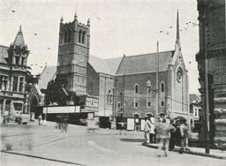 St. Mary's Church in 1921 before the construction of a building on the Main Street frontage
