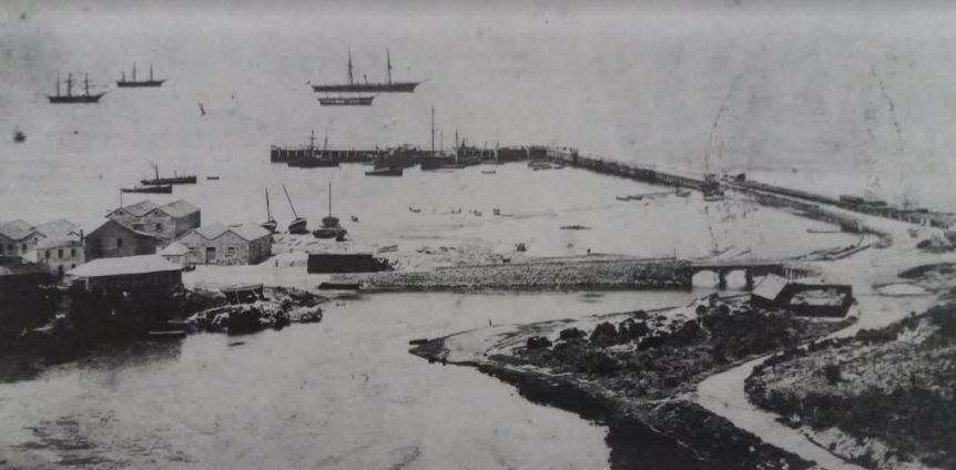 The breakwater circa 1866