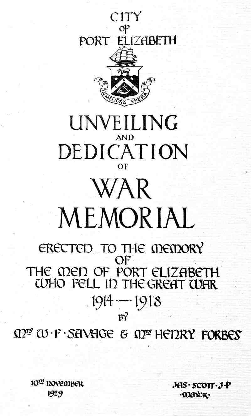 The official programme of the unveiling of the Cenotaph on November 10, 1929