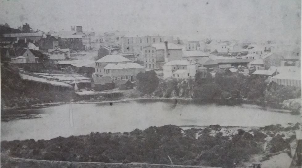 The original Holy Trinity Church was located beyond the woolwashing operations in the foreground
