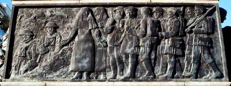 The relief panel on the other side of the sarcophagus