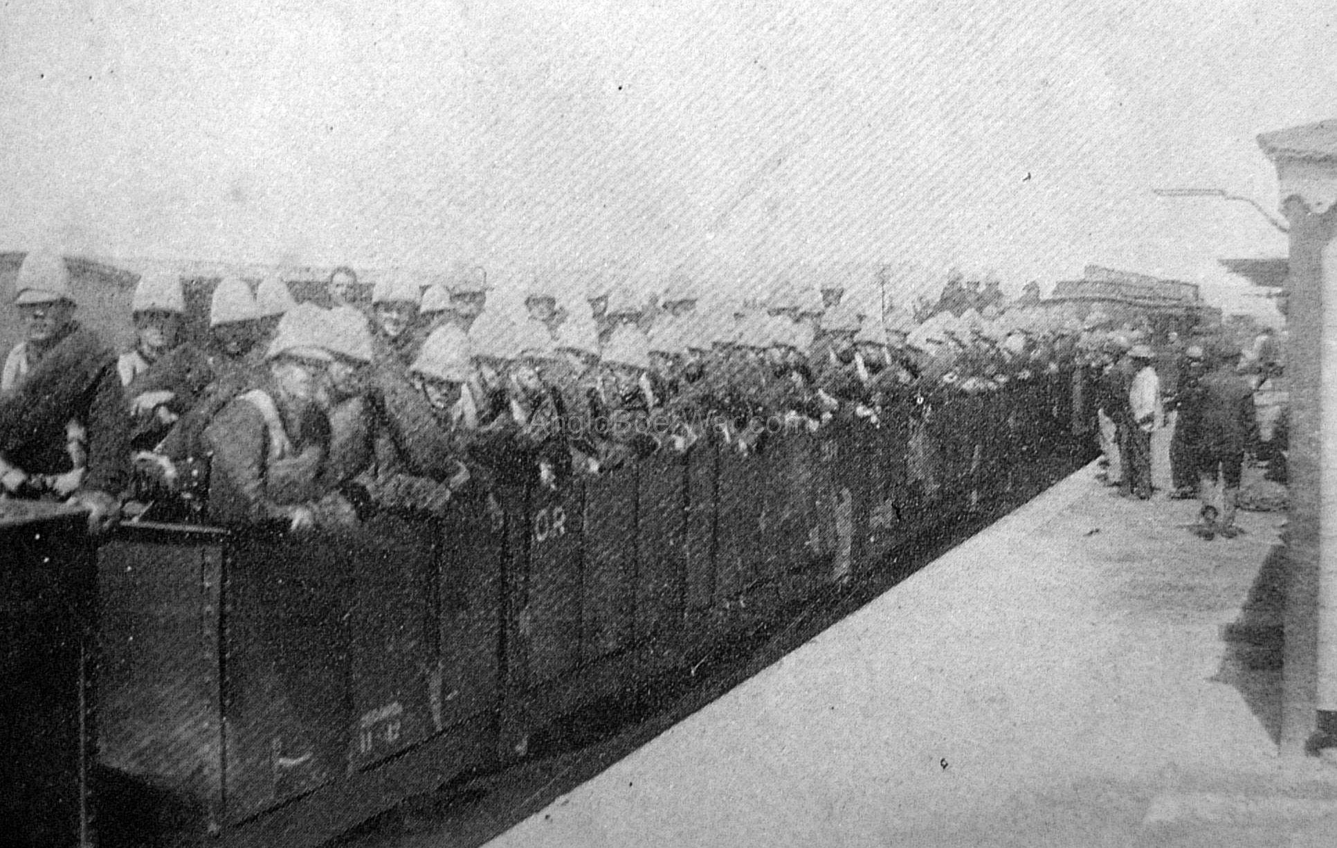 Troops aboard a train