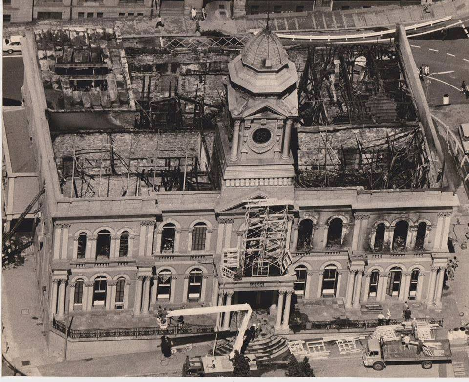The City Hall after the fire that almost resulted in its demolition. Fortunately the preservationists prevailed
